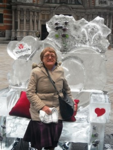 An ice chair in London on Valentine's Day