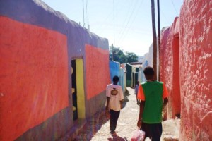 One of the many painted alleys